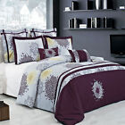 Fifi Lilac and Plum 100% Cotton Embroidered 7pc Duvet Cover Set