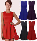Plus Size Womens Tailored Pleat Christmas Skater Ladies Textured Party Dress8-20