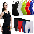 Women Sports Compression Base Layers Vest T-Shirts Tight Legging Pants Shorts