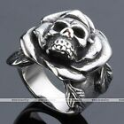 Mens Vintage Punk Rock Stainless Steel Carved Rose Flower Leaf Skull Finger Ring