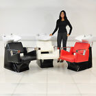 BLACK/WHITE/RED HAIR WASH UNIT WITH BLACK LEATHER STYLE CHAIR, MIXER TAP AND