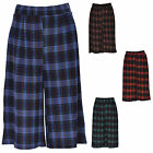 Women Ladies Tartan Check Flared 3/4 Length Culottes Skirt Shorts Pants Trouser