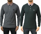 Mens Designer Foray Apparel Platinum Pique Polo T Shirt Long Sleeve Jersey Top