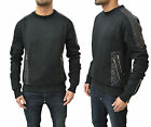 Mens New Designer Rough Diamonds Crew Neck Pu Leather Quilted Jumper Sweater Top