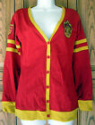 Harry Potter Embroidered Gryffindor Crest Yellow Stripe Red Cardigan Sweater Top