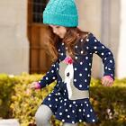 Toddlers Kids Baby Girls Long Sleeve Lace Dress One-piece Dots Deer Cotton Skirt
