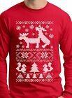 Ugly Christmas Sweater Long Sleeve Christmas Tee Shirt For Guys Humping Moose