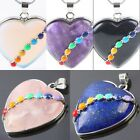 1Pc Stone Gemstone Bead Heart LOVE 7 Chakra Healing Pendant Charms Fit Necklace