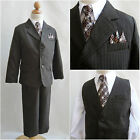 Elegant LTO Boy brown pinstripe/white shirt wedding recital party formal suit