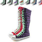 Woman Canvas Mid Calf Tall Boots Casual Sneaker Punk Flat Perfect Green Shoelace