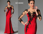 eDressit 2014 New Black Lace Long Sleeves Red Evening Prom Gown UK6-20(02146302)