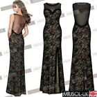 Womens Black Lace Split Long Maxi Prom Formal Cocktail Evening Ball Gown Dresses