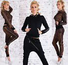 Sexy Women's 2-Piece Full Tracksuit Joggings With Hood Chino Pants Suit Hot