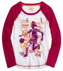 NWT Justice Girls Pink & White Basketball Glitter  Raglan Tee U Pick Size NEW
