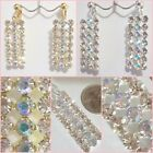 Rhinestone 3 Row Bling Dangle 2.5 inch Drop CLIP ON or Pierced Earrings GT or ST