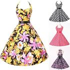 XMAS GIFTS HIPSTER  Vintage 50s Halter Cotton Rockabilly Swing Evening Tea Dress