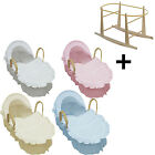 Broderie Anglaise Moses Basket With Mattress, Covers And Rocking Stand NEW