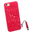 3D Sculpture Design Rose Flower Plastic Cover Case For iPhone 5 5G+Stylus R