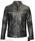 LLD Dave Mens Brown Rub Off Designer Casual Bikers Style Real Leather Jacket