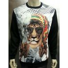 Konflic Rasta Lion With Smoking Cigar Graphic Men's Black Crew Neck Sweatshirt