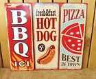 Vintage Retro Metal Plaque Pizza Hot Dog BBQ Kitchen Cafe Tin Door/Wall Sign