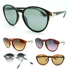 Women's Keyhole Round Shape Sunglasses with Metal Trim on Side Retro Style