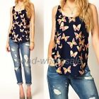 Fashion Women Butterfly Print Tank Top Vest Chiffon Blouse T-Shirt Sleeveless