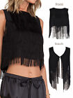 Women Ladies Sleeveless Tassel Fringe Hem Cropped Cami Sexy Top Vest T Shirt