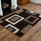 NEW LARGE MEDIUM SMALL 5cm HIGH PILE THICK NON SHED CHOC BROWN BEIGE SHAGGY RUG