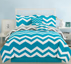 10 Piece Chevron Teal Bed in a Bag w/600TC Cotton Sheet Set