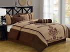 11 Piece Coffee and Taupe Embroidered Bed in a Bag w/600TC Sheet Set