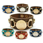 Engravable Colored Leather Adjustable Cuff Bracelet (Choose Colors)