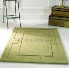 Sierra Apollo Green Plain Sculptured Rugs / 100% Wool Pile Handmade In India