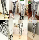New Ladies Women Skinny Printed Leggings Full Length Stretchy Trousers Free Size