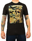 Men's Skull Pilot Bombers by 2 Cents Black T Shirt Skeleton Tattoo Vintage Style