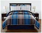 complete comforter sets queen - 8 Pieces Complete Bed Set Comforter Striped Plaid Blue Gray King Queen Full Twin