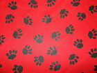 "Cat / Dog paw prints on Red / fabric / sold by the metre 44"" wide Polycotton"