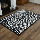 NEW X LARGE LARGE MEDIUM SMALL BLACK IVORY/CREAM ZEBRA CHEAP BUDGET SOFT RUG
