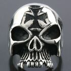 Gothic Punk Silver Skull Sword Cross Stainless Steel Finger Ring Jewelry US 9/10