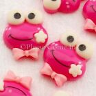 Kawaii Flat Back Resin Frog with Bow Cabochon Decoden Charm