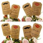 DIY Personalised Double Sided Kraft Wedding Cupcake Toppers Mustache & Lips