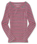 Aeropostale Womens Striped Long Sleeve Graphic T-Shirt