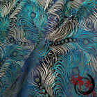 1/2 yard/meter blue peacock brocade tapestry satin Fabric Cosplay DIY 29""