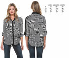 NEW VOGUE WOMENS CASUAL BLACK WHITE BLOUSE TOP TUNIC BUTTON DOWN SHIRT X-3X