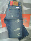 LEVI'S 511 MEN'S SLIM FIT LOW RISE ZIP FLY DESTRUCTED JEANS BLUE BARNACLE