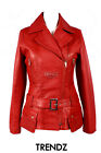Ladies ORCHID RED (2812) New Military Style Real Soft Lambskin Leather Jacket