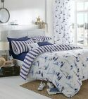 Nautical Boats Blue & White Bedding Sets Or Eyelet Curtains Or Filled Cushion