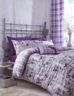 Tartan Quilt Duvet Cover Bed Sets 3 Sizes And/Or Cushion Cover Lilac Cotton Rich