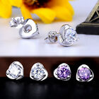 1 Pair 925 Silver Creative Heart Rhinestone Ear Stud Earrings Jewelry Best Gifts