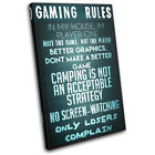Gaming COD House Rules Typography SINGLE CANVAS WALL ART Picture Print VA